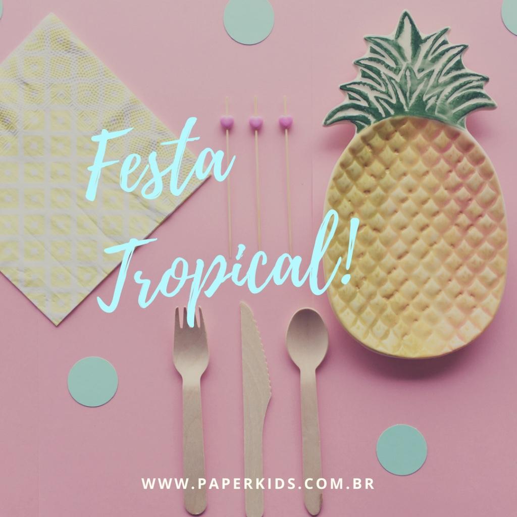 111e98de3d7ab Festa Tropical - Flamingos e Frutas • Paper Kids - Loja de Festas
