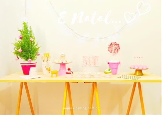 mesa doces natal rosa